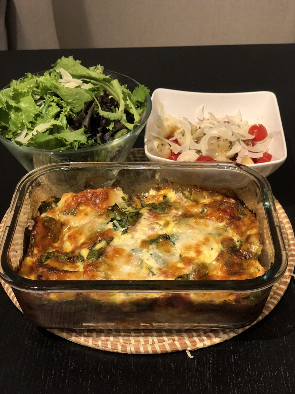 Quiche lowcarb de espinafre e alho francês