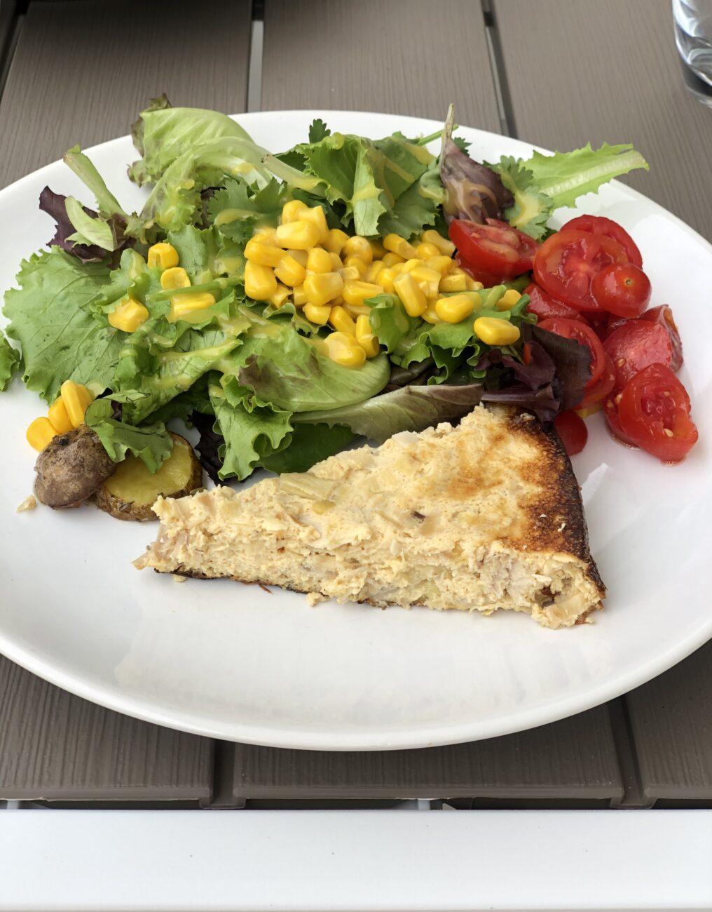 Quiche saudável de frango e alho francês